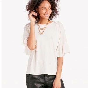 NWT Revolve LA Made White Ruffle T Shirt